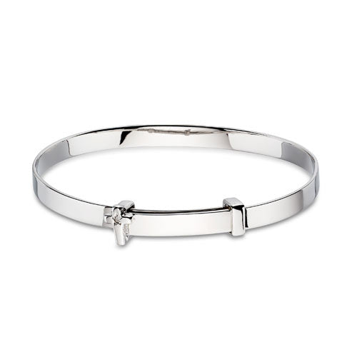 Diamond Cross Sterling Silver Baby Bangle
