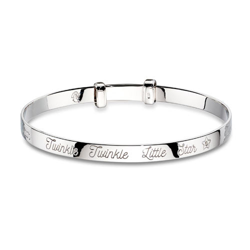 Diamond Twinkle Sterling Silver Baby Bangle