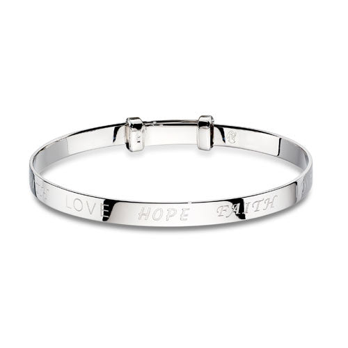 Love,Hope & Faith Sterling Silver Baby Bangle