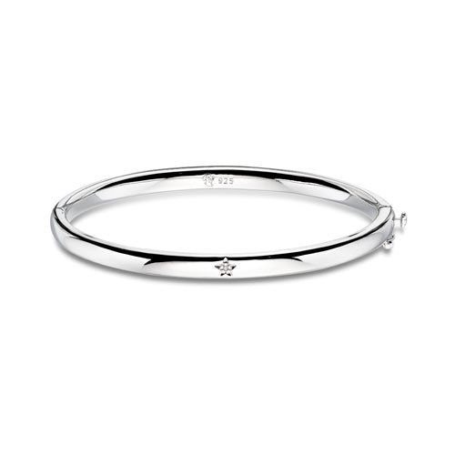 Diamond Hinged Sterling Silver Baby Bangle