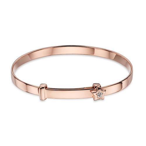 Rose Gold Plated Sterling Silver Baby Bangle