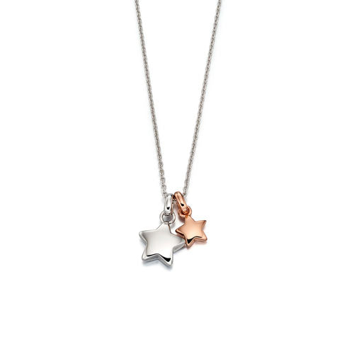 Suki-Rose Gold Plated Double Star Pendant & Chain
