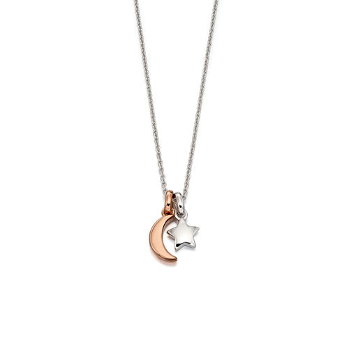 Collette-Rose Gold Plated Double Star & Moon Pendant & Chain