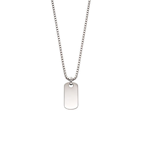 Otis-Silver Mens Tag Necklace