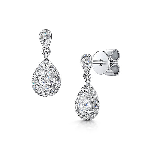 Platinum Diamond Drop Earrings 1.04ct