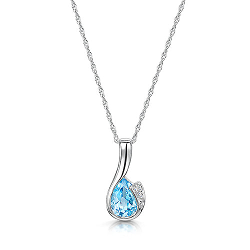 9ct White Gold Blue Topaz & Diamond Pendant & Chain