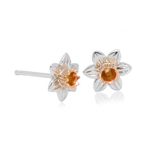Silver & 9ct Gold Daffodil Earrings