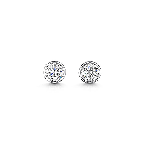 Platinum Rub Over Style Solitaire Stud Earrings 0.80cts