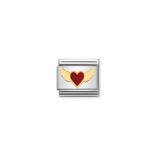 Nomination Enamel Heart & Angel Wings Charm