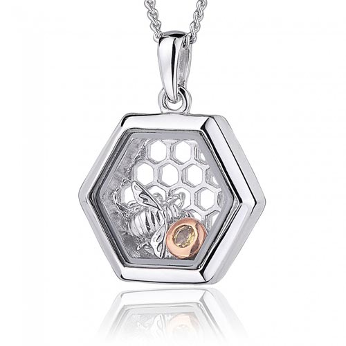 Silver & 9ct Gold Honey Bee Pendant