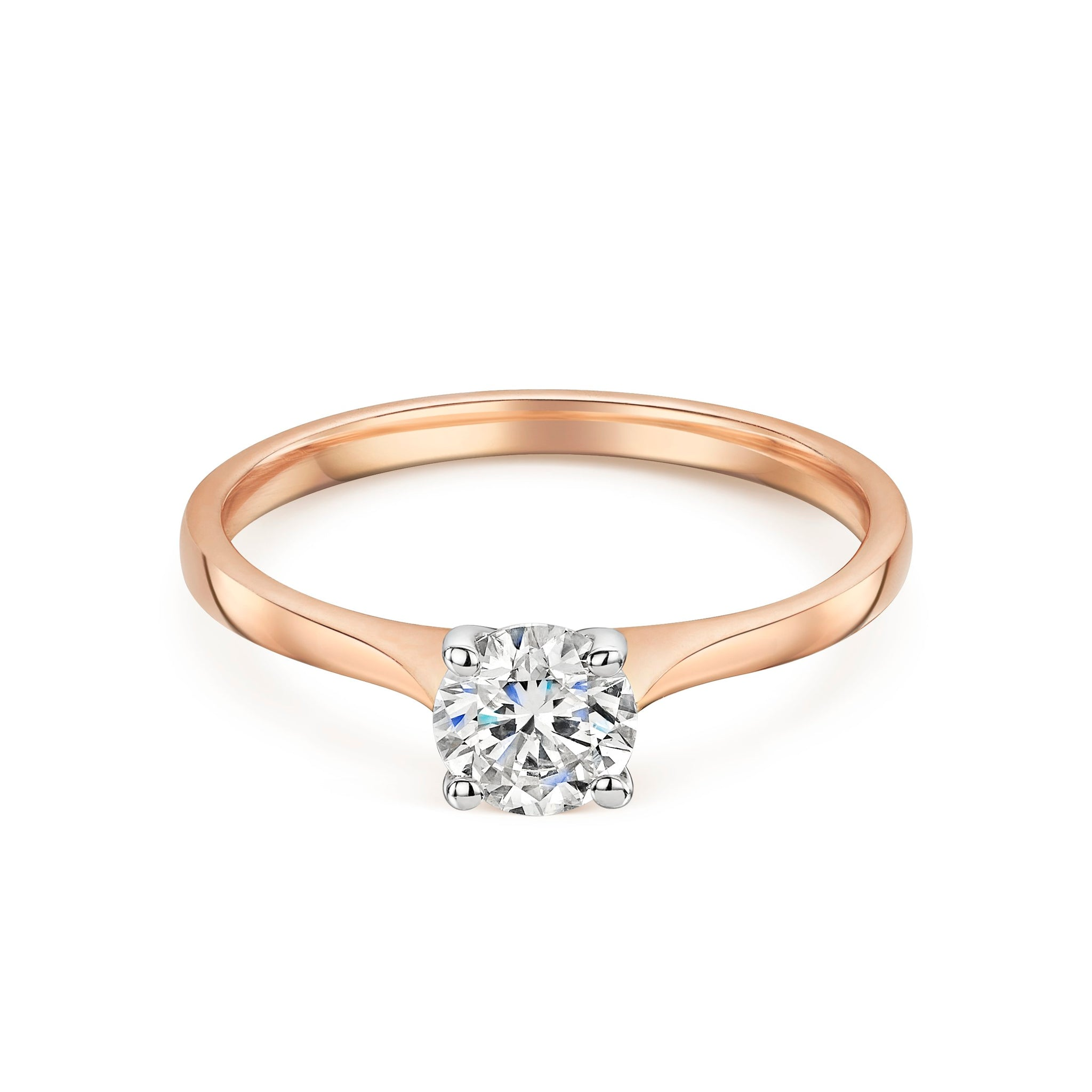 Rose Gold Diamond Solitaire With Tapered Shoulders 0.61cts