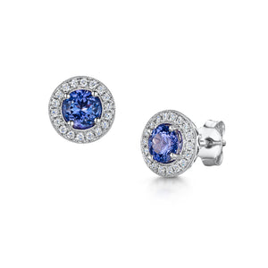 Tanzanite and diamond stud earrings - 18ct gold