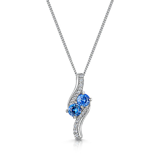 18ct Sapphire and diamond twist pendant & chain