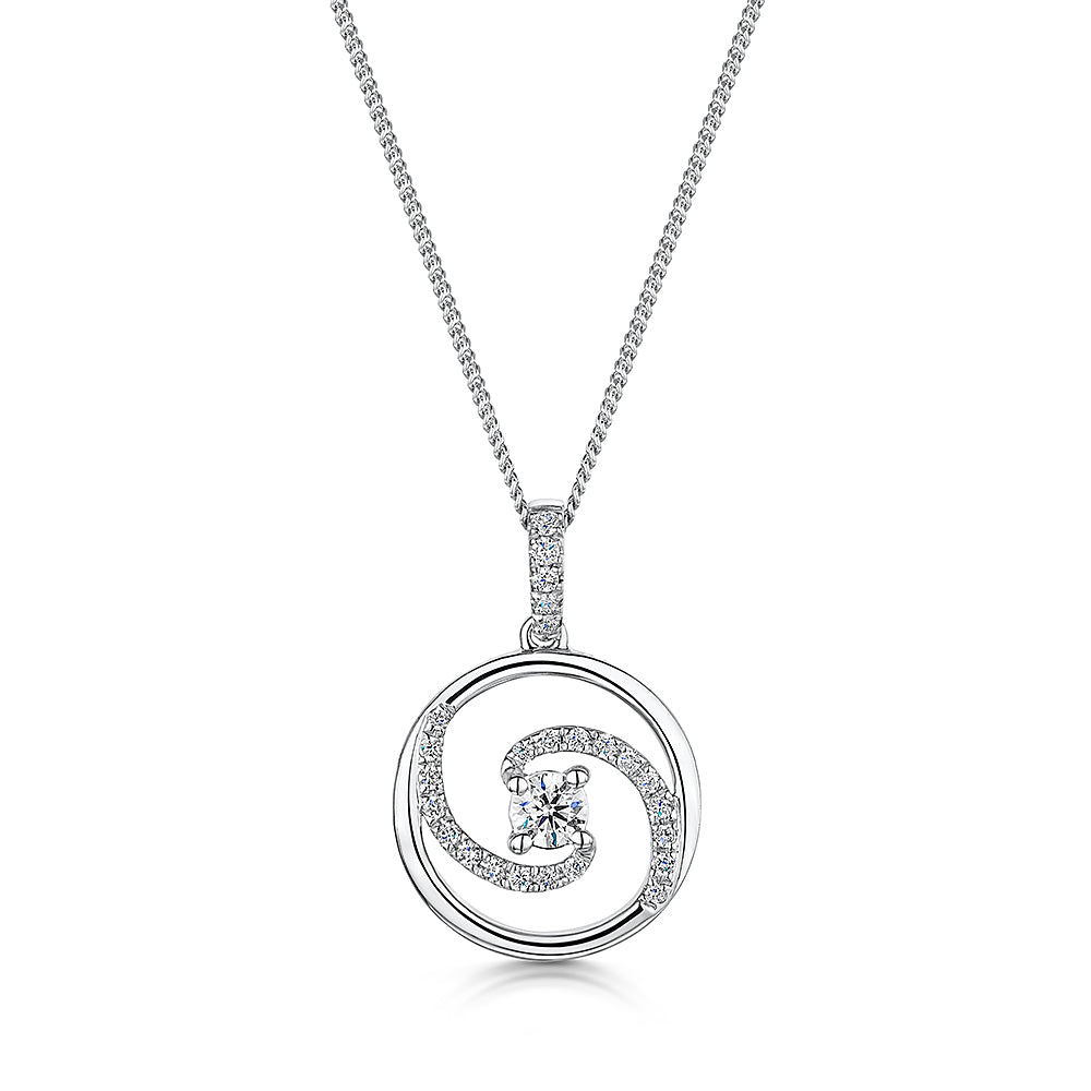 Elegant 18ct white gold diamond pendant & Chain