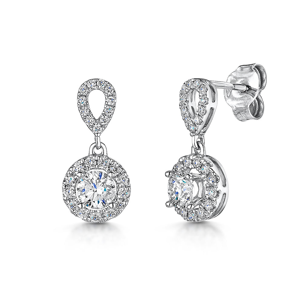 18ct white gold diamond drop earrings