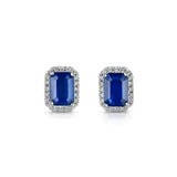 Sapphire and diamond stud earrings in 18ct white gold