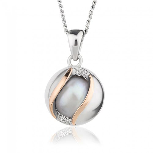 Silver & 9ct Gold Oyster Pearl Pendant