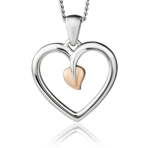 Silver & 9ct Gold Tree Of Life Heart Pendant