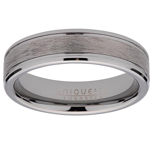 Tungsten Matt & Polished Silver Colour Band 6mm