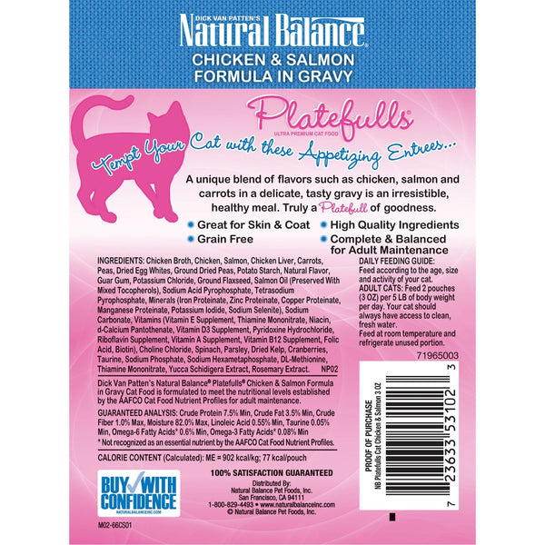 Natural Balance Platefulls Regular Grain Free Chicken and Salmon in Gravy Pouch Wet Cat Food