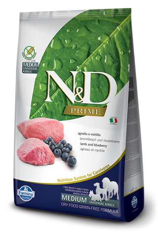 Farmina Prime N&D Natural and Delicious Grain Free Medium Adult Lamb & Blueberry Dry Dog Food