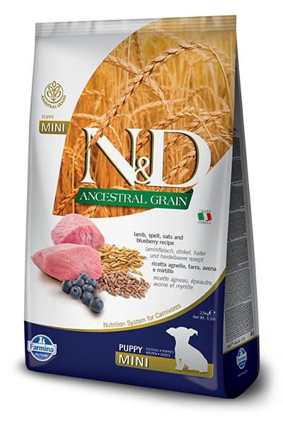Farmina N&D Natural & Delicious Low Grain Mini Puppy Lamb & Blueberry Dry Dog Food