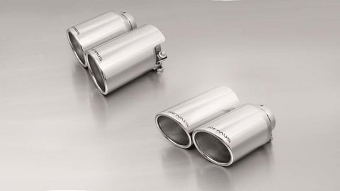 Remus Rear Silencer Left/Right with 4 tail pipes Ø 102 mm angled/angled, rolled edge, chromed for Porsche Panamera 970 3.0 Diesel 184 kW 2011-