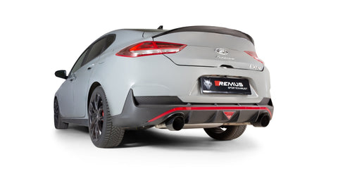 Remus GPF back System Left/Right with Integrated valves using the OE valve control system with 2 tail pipes Ø 115 mm angled, engraved, Black Chrome for Hyundai i30 Fastback PDE 2.0 N Performance 202 kW 2018-