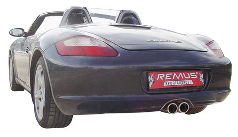 Remus Rear Silencer Left/Right with 2 tail pipes Ø 90 mm straight, rolled edge, chromed for Porsche Cayman 987 2.7 180 kW 2006-2009