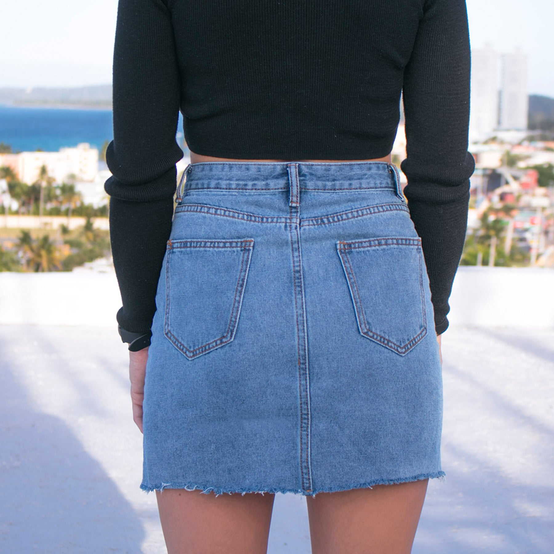 Bleached Denim Skirt