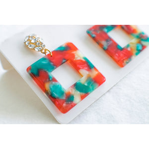 Tropical Square Earrings