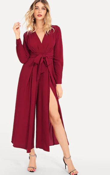 Split Leg Red Party Jumpsuit