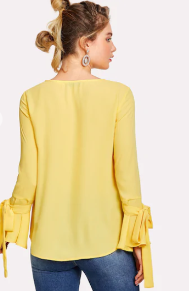 Pearl Embroidered Yellow Blouse