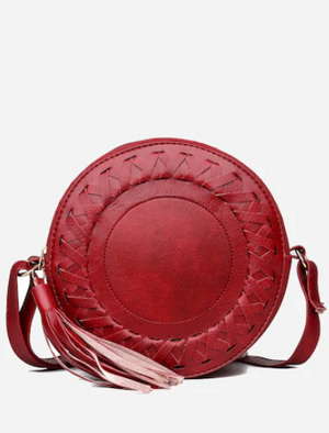 Red Lacing Round Bag
