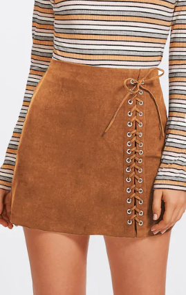 Lace Up Coffee Mini Skirt