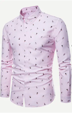 Pink Cartoon Print Long Sleeve Shirt