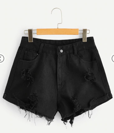 Hight Waisted Mom Short - Black Denim