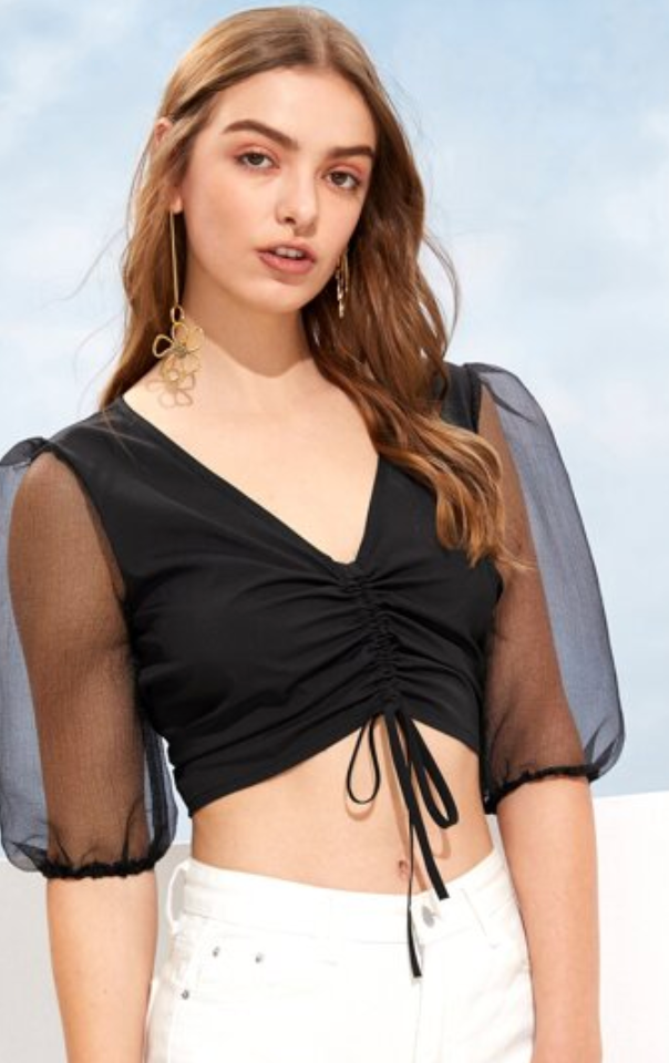 Mesh Sleeves Crop Top