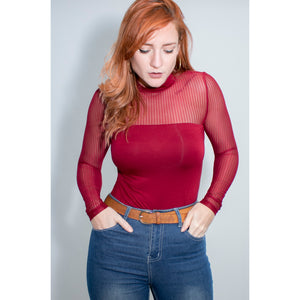 Wine Red Mesh Top