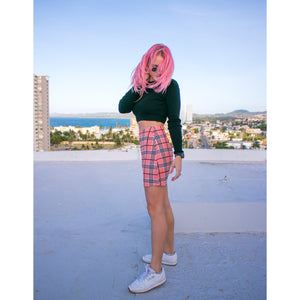 Pink Plaid Miniskirt