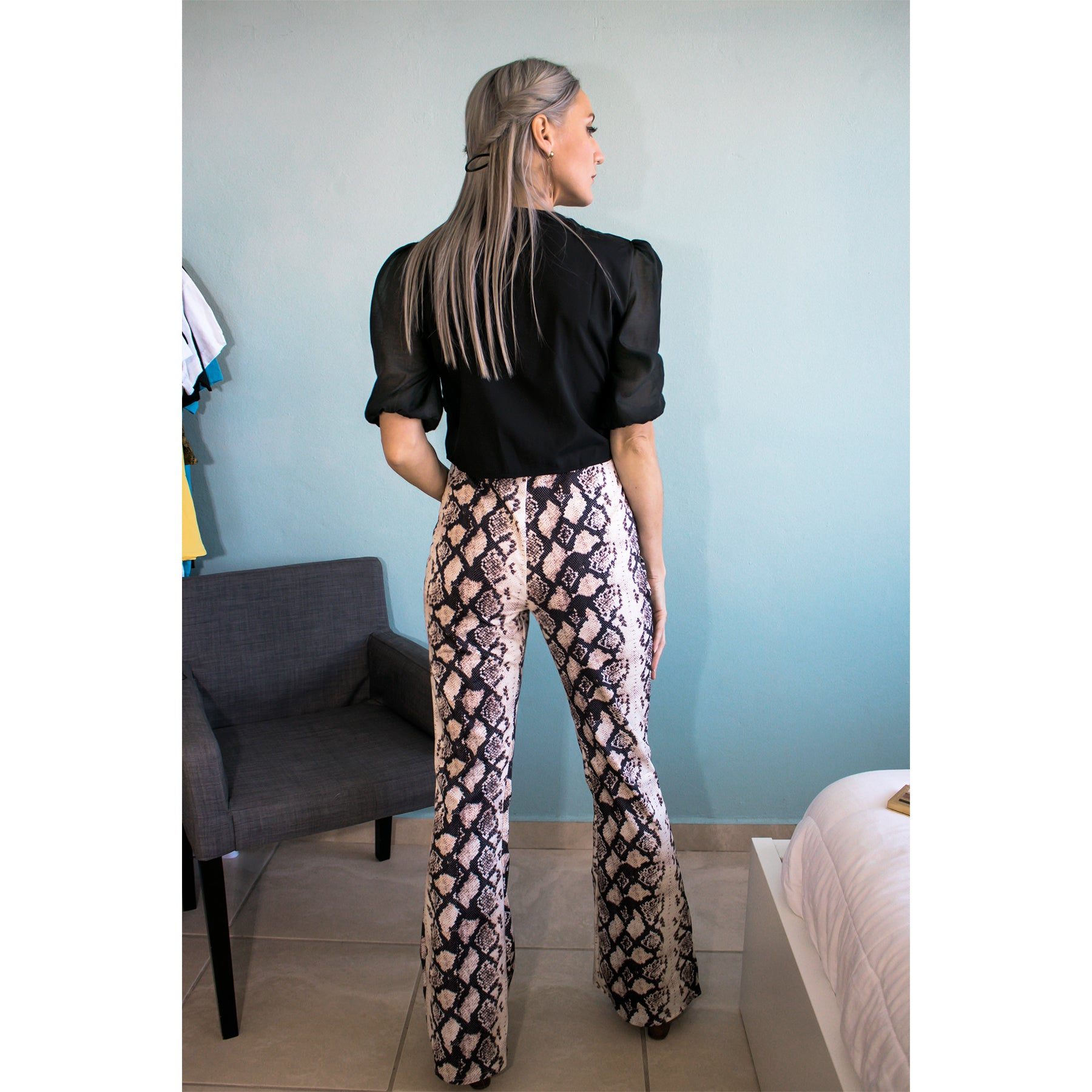 Savage Snakeprint Bell Bottoms