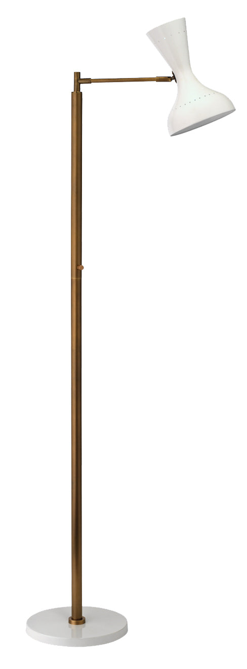 Pisa Swing Arm Floor Lamp in White Lacquer