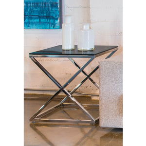 Excel Square End Table with Black Glass Top
