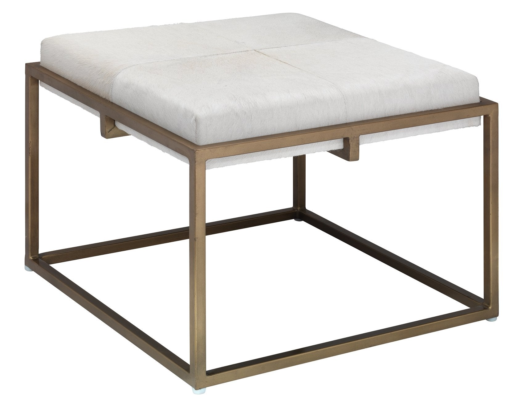 Large Shelby Stool in White Hide and Antique Brass