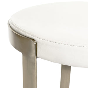 Caroline Barstool with Ivory White Leatherette Seat