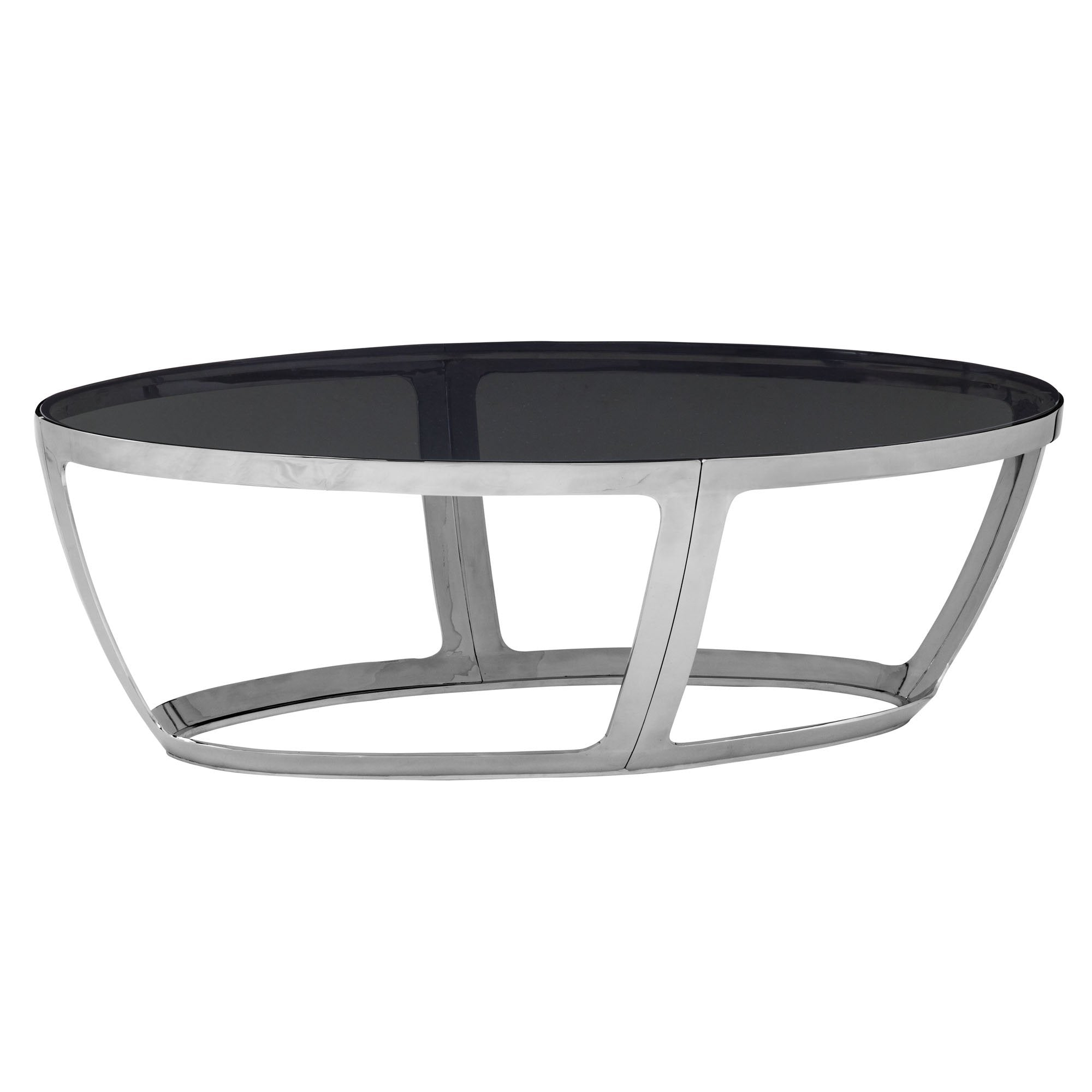 Alyssa Oval Cocktail Table with smoked glass
