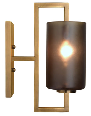 Blueprint Sconce in Antique Brass Metal & Grey Glass