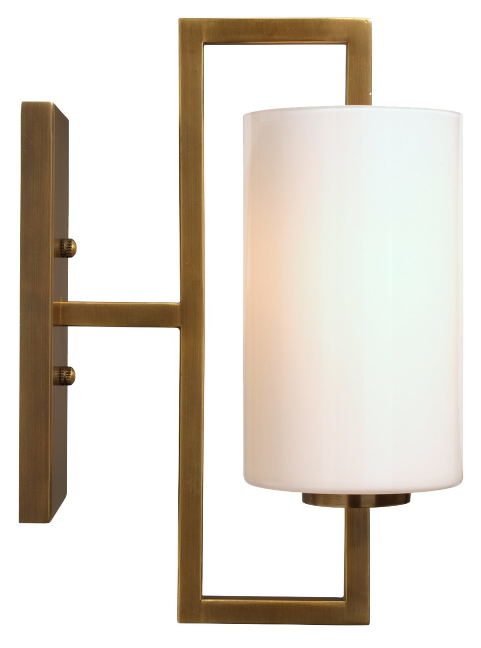 Blueprint Sconce in Antique Brass Metal & White Glass