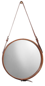 Small Round Mirror in Brown Leather