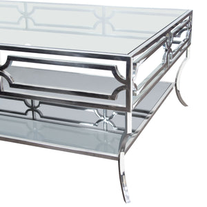 Avalon Cocktail Table with Clear Glass Top